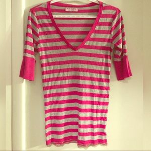 Michael Stars Modal elbow sleeve striped Tshirt